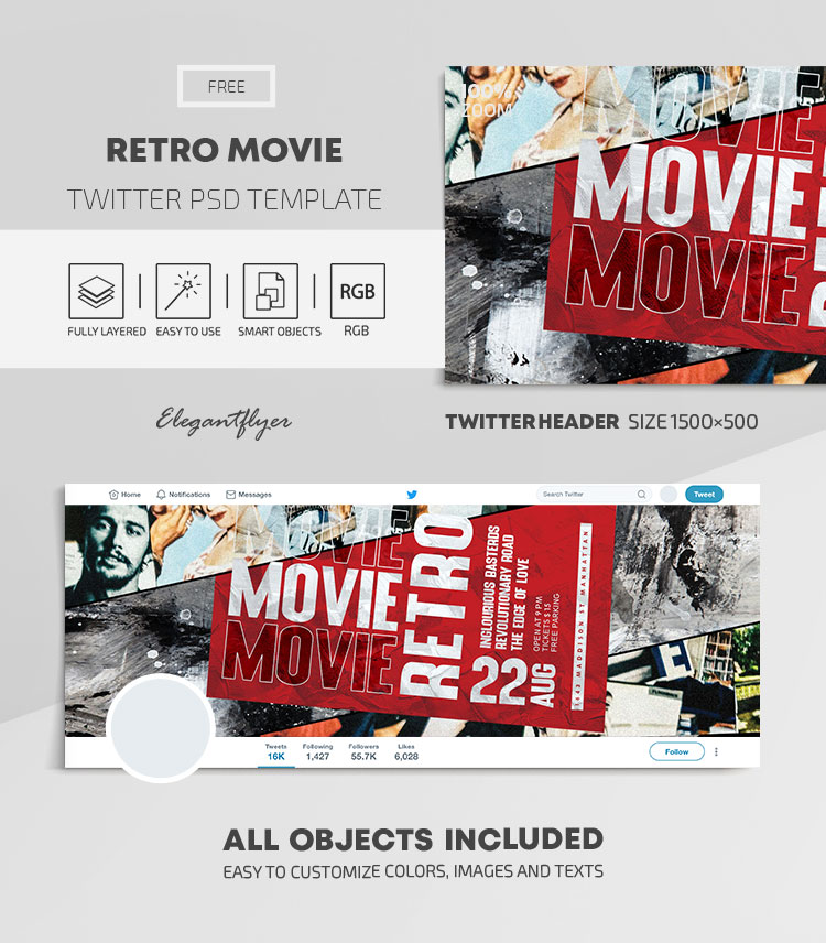 Retro Movie – Free Twitter Header PSD Template