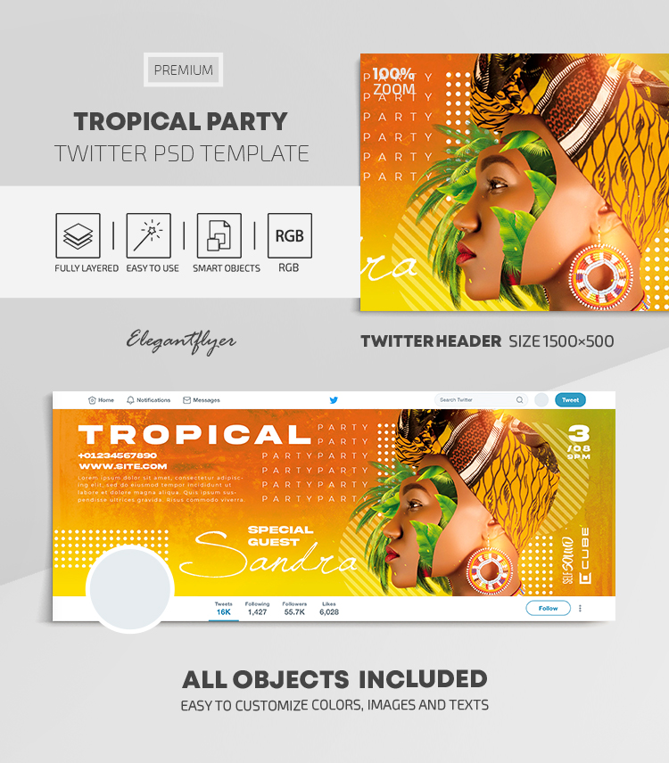 Tropical Party – Twitter Header PSD Template