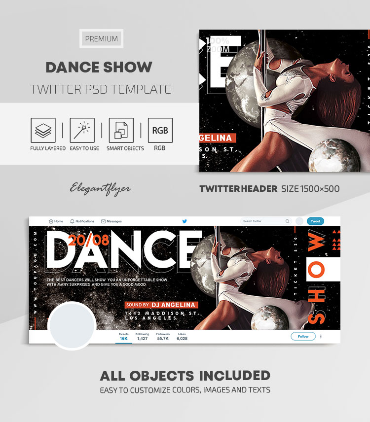 Dance Show – Twitter Header PSD Template