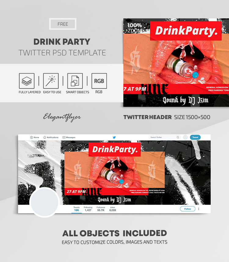 Drink Party – Free Twitter Header PSD Template