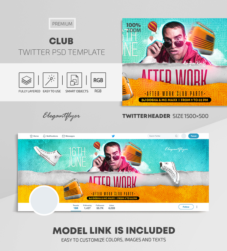 Club – Twitter Header PSD Template