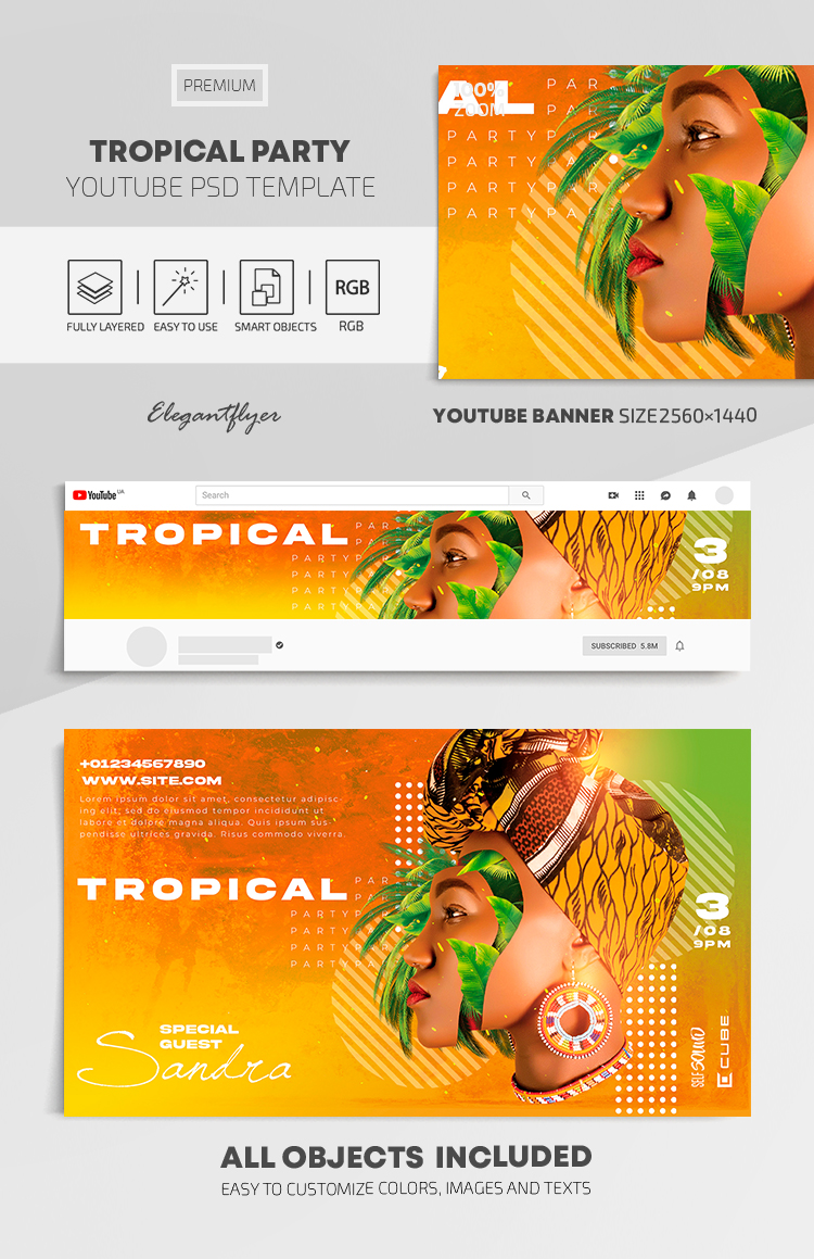Tropical Party – Youtube Channel banner PSD Template
