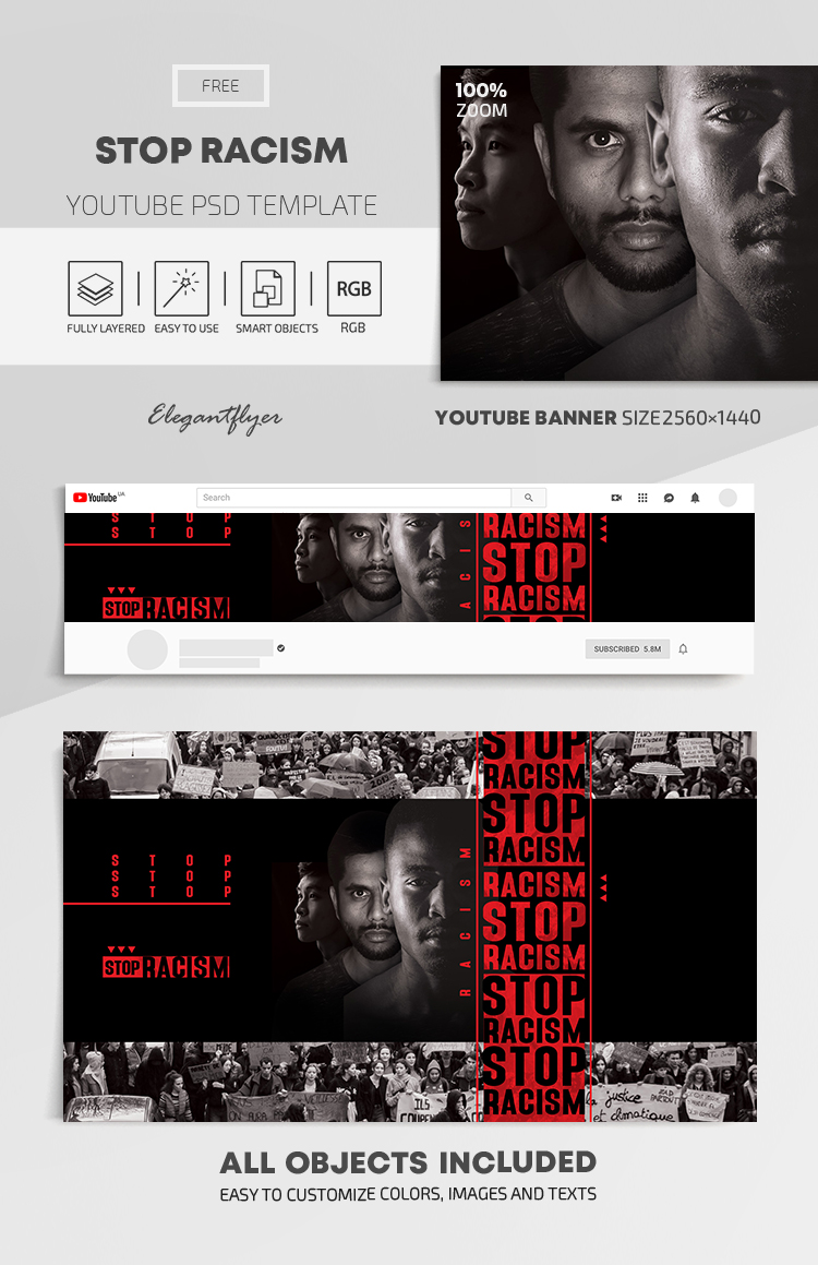 Stop Racism – Free Youtube Channel banner PSD Template