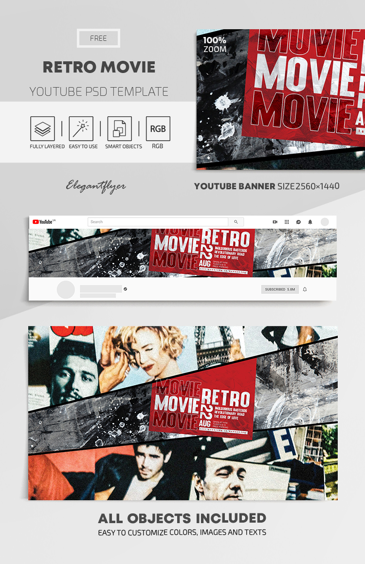 Retro Movie – Free Youtube Channel banner PSD Template