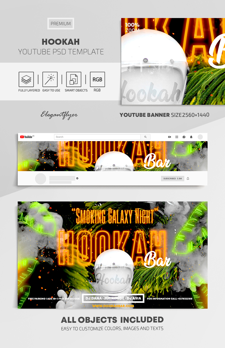 Hookah – Youtube Channel banner PSD Template