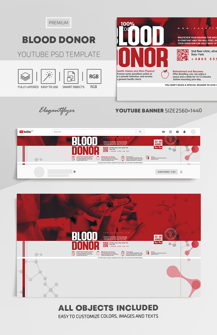 Blood Donor – Youtube Channel banner PSD Template