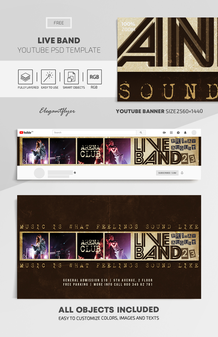 Live Band – Free Youtube Channel banner PSD Template