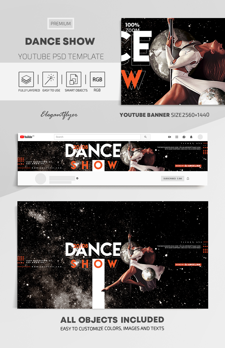 Dance Show – Youtube Channel banner PSD Template