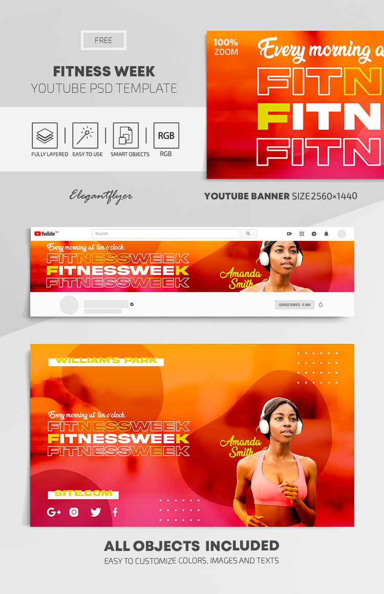 Fitness Week – Free Youtube Channel banner PSD Template