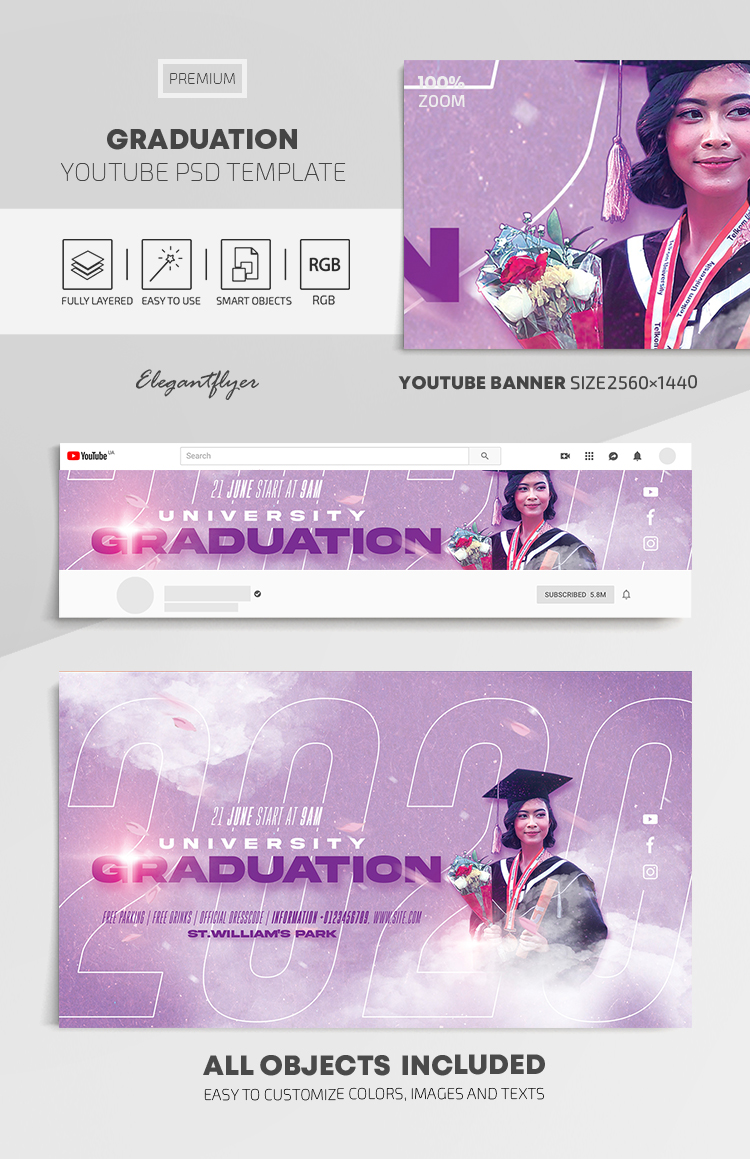 Graduation – Youtube Channel banner PSD Template