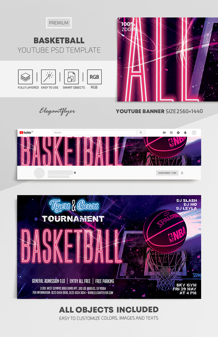 Basketball – Youtube Channel banner PSD Template