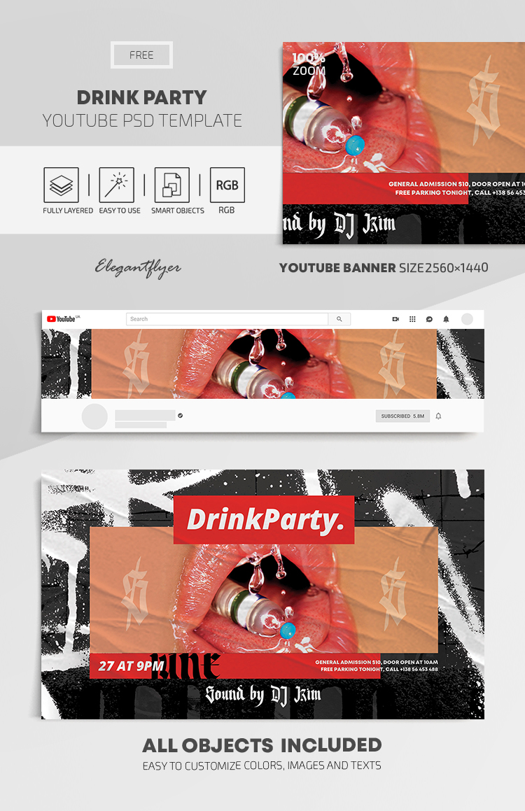Drink Party – Free Youtube Channel banner PSD Template