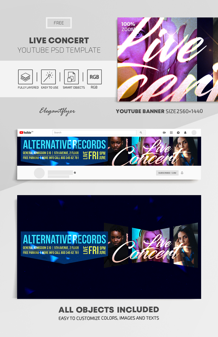 Live Concert – Free Youtube Channel banner PSD Template