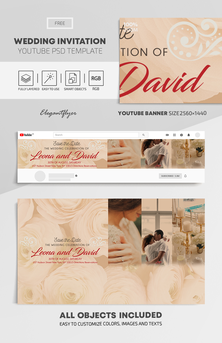 Wedding Invitation – Free Youtube Channel banner PSD Template