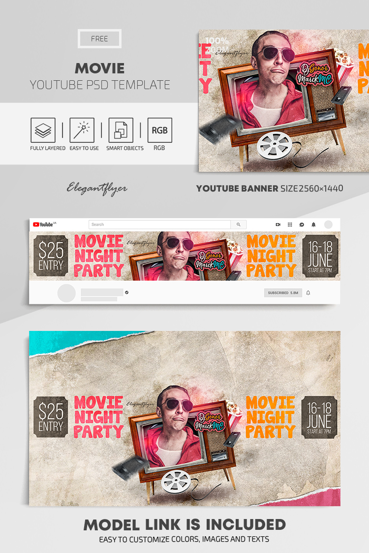 Movie – Free Youtube Channel banner PSD Template