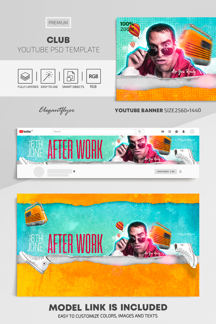 Club – Youtube Channel banner PSD Template
