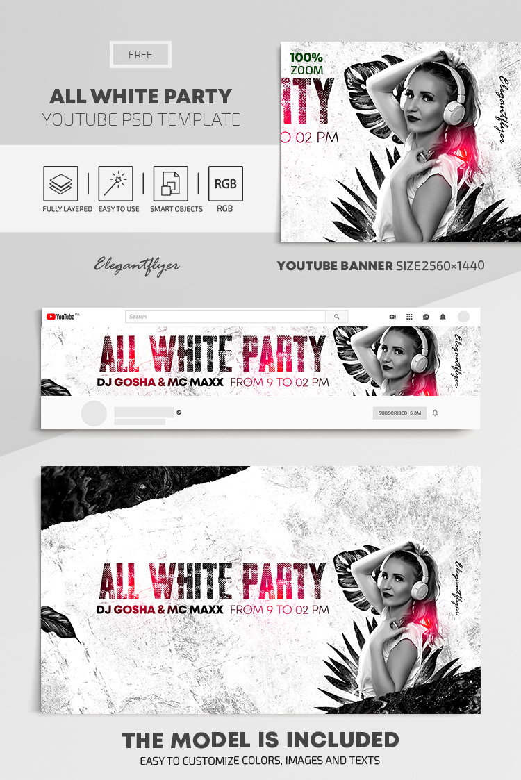 All White Party – Free Youtube Channel banner PSD Template