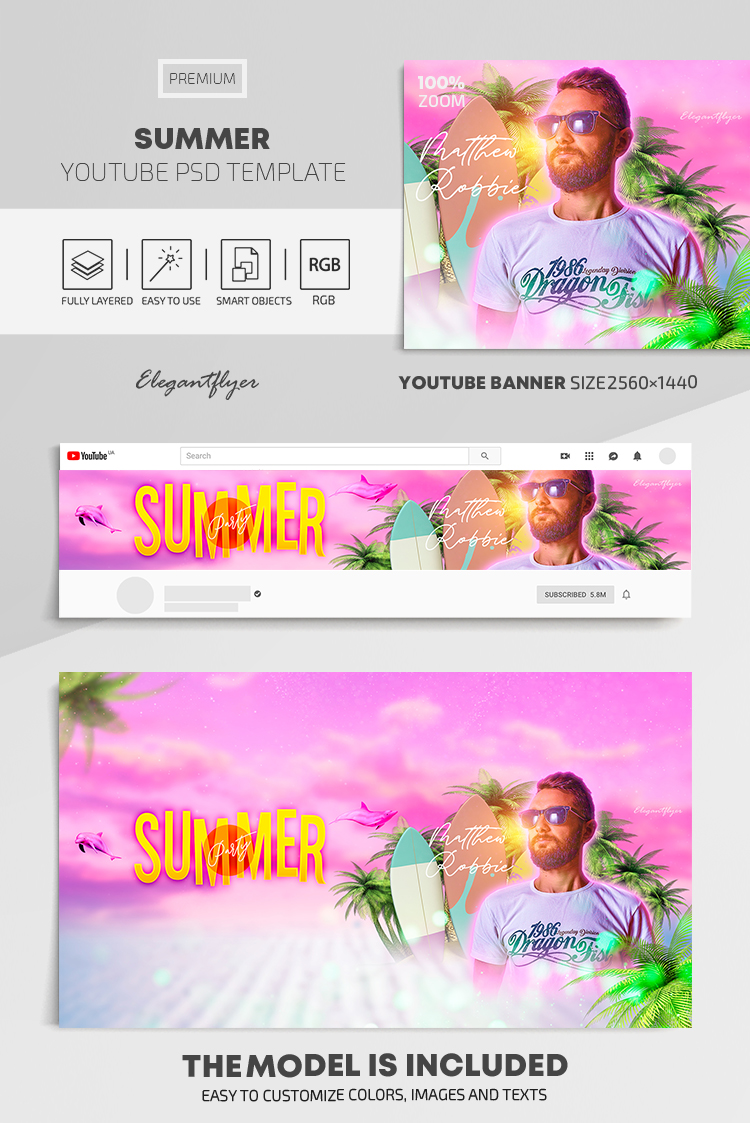 Summer – Youtube Channel banner PSD Template