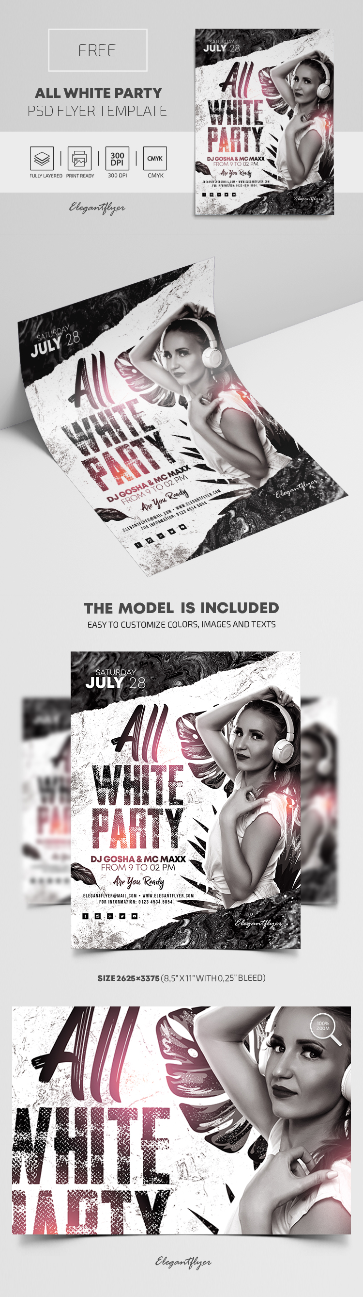 All White Party – Free PSD Flyer Template
