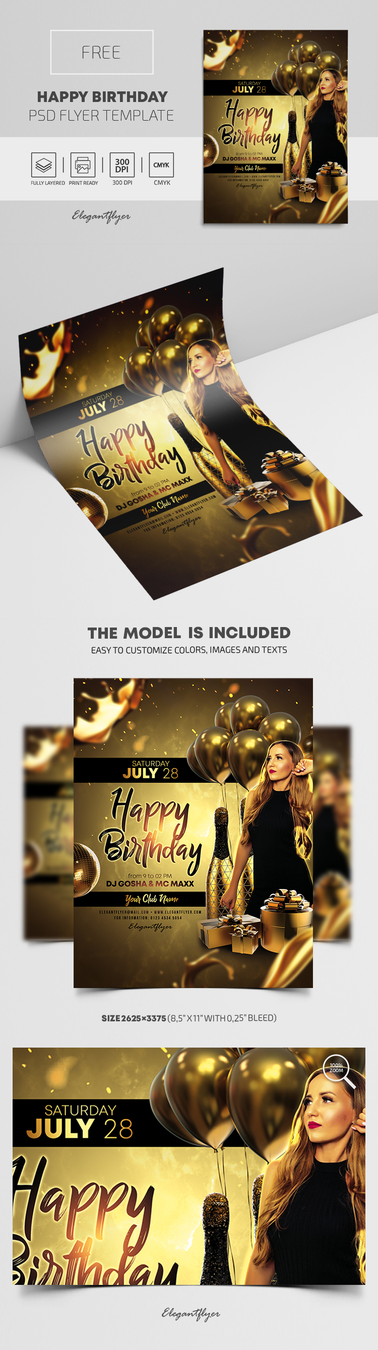 Happy Birthday – Free PSD Flyer Template