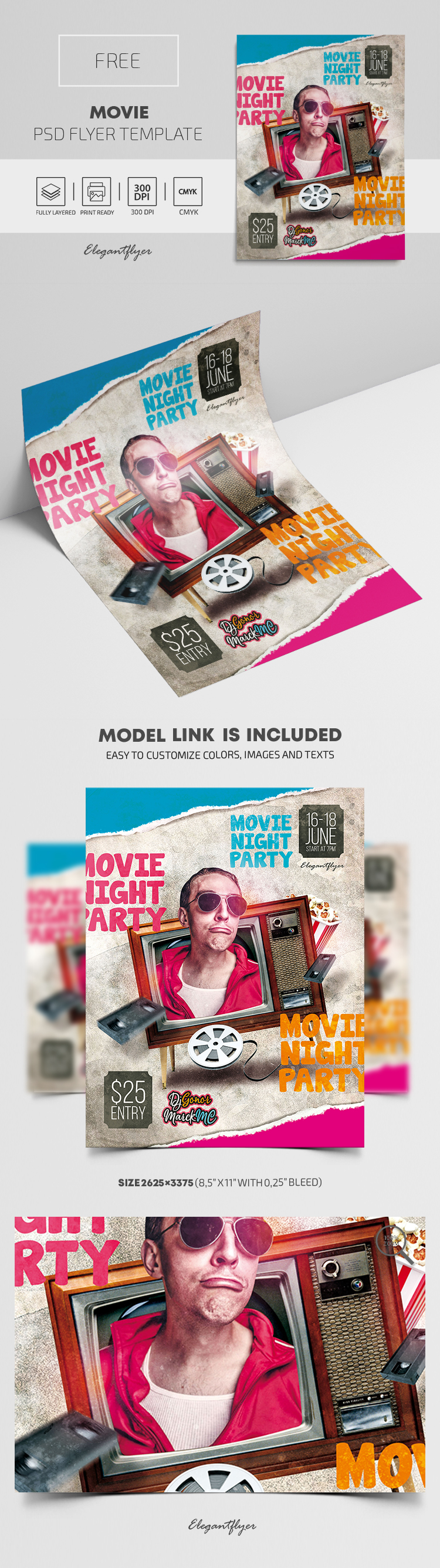 Movie – Free PSD Flyer Template