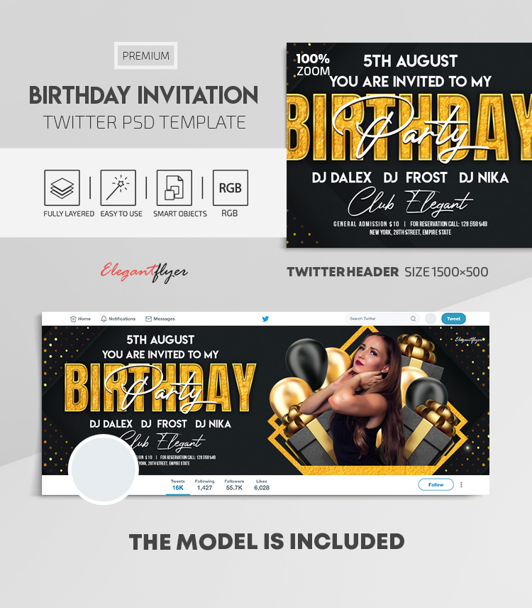 Birthday Invitation – Twitter Header PSD Template