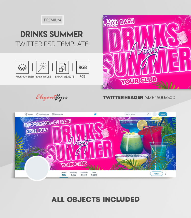 Drinks Summer – Twitter Header PSD Template