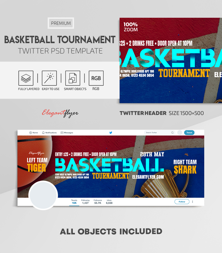 Basketball Tournament – Twitter Header PSD Template