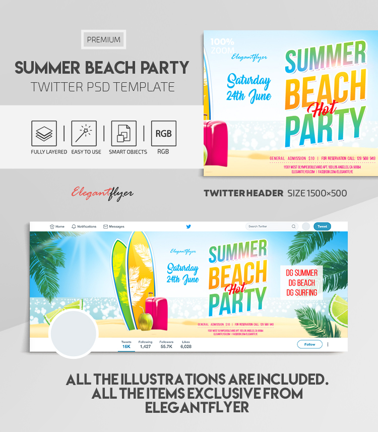 Summer Beach Party – Twitter Header PSD Template