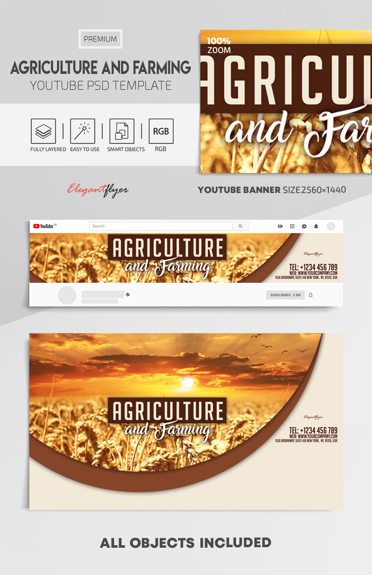 Agriculture and Farming – Youtube Channel banner PSD Template
