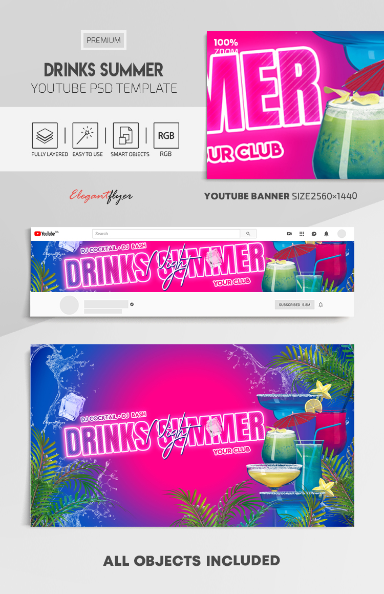 Drinks Summer – Youtube Channel banner PSD Template