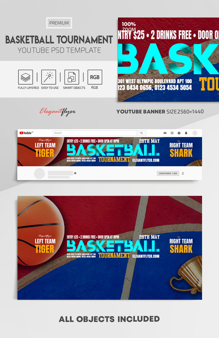 Basketball Tournament – Youtube Channel banner PSD Template
