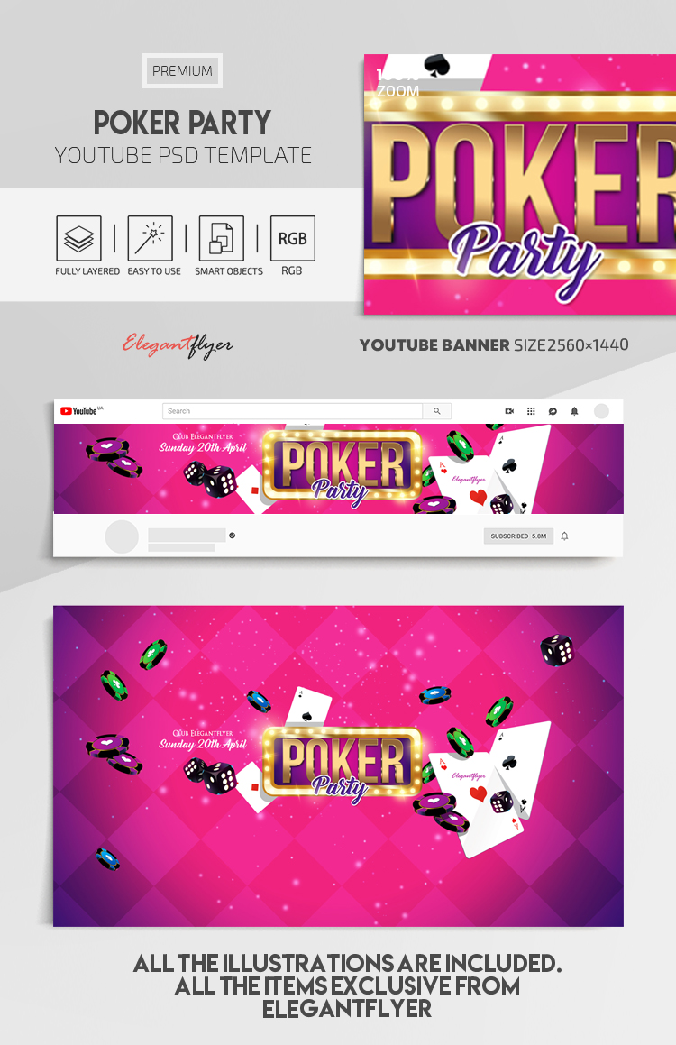 Poker Party – Youtube Channel banner PSD Template