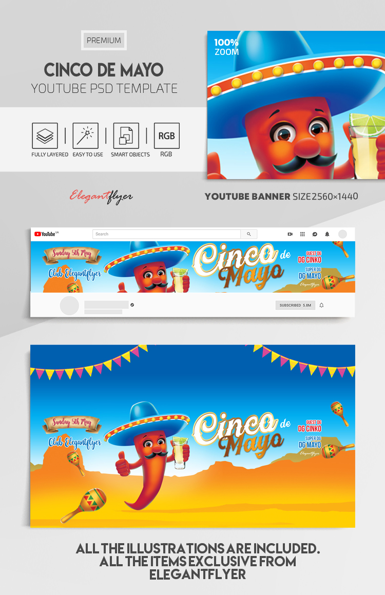 Cinco de Mayo – Youtube Channel banner PSD Template