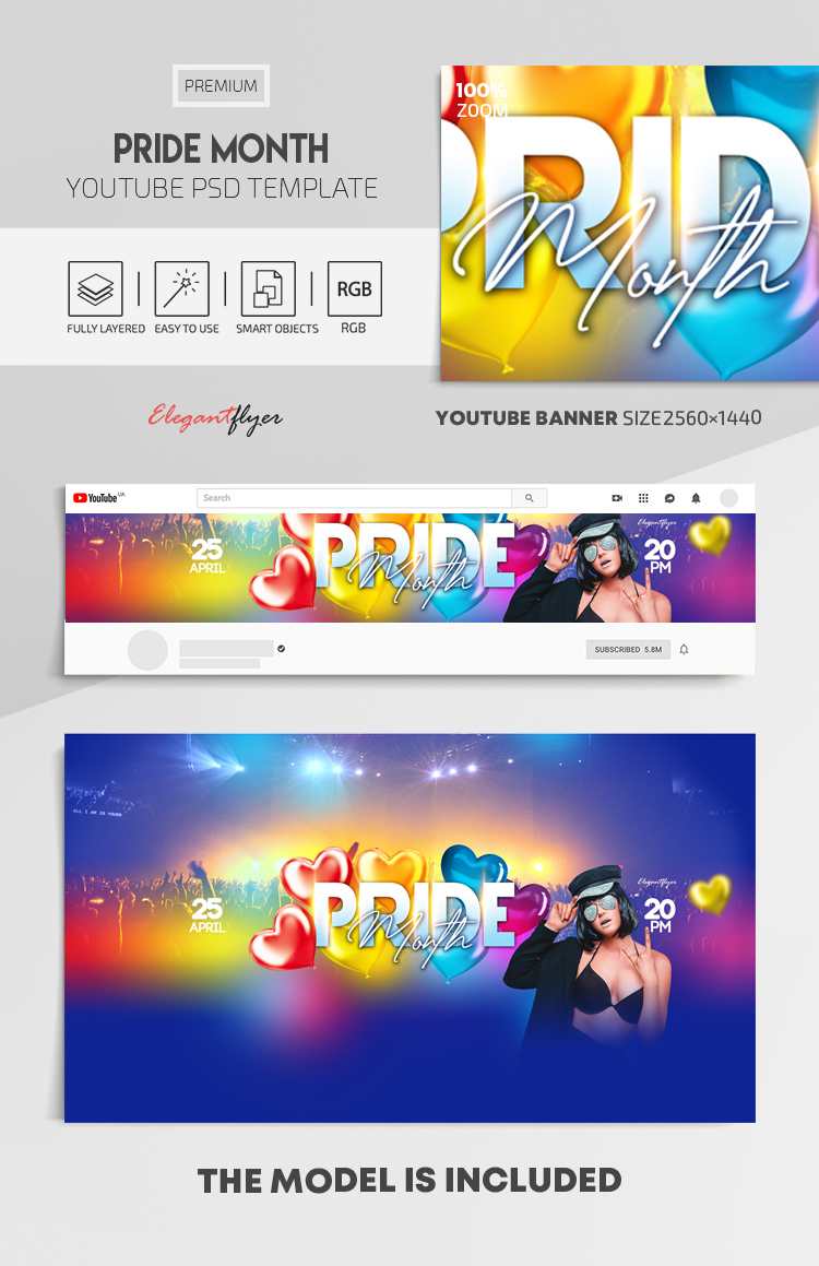 Pride Month – Youtube Channel banner PSD Template