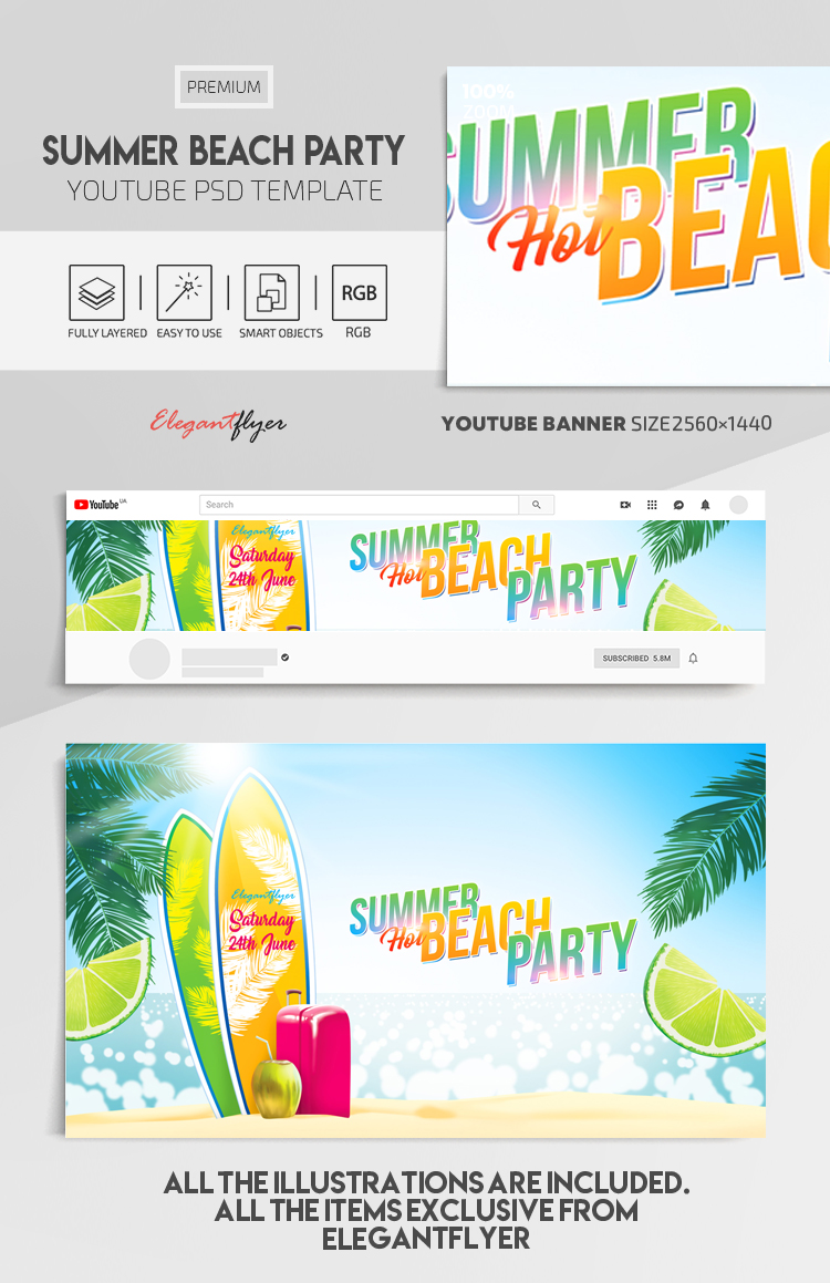 Summer Beach Party – Youtube Channel banner PSD Template