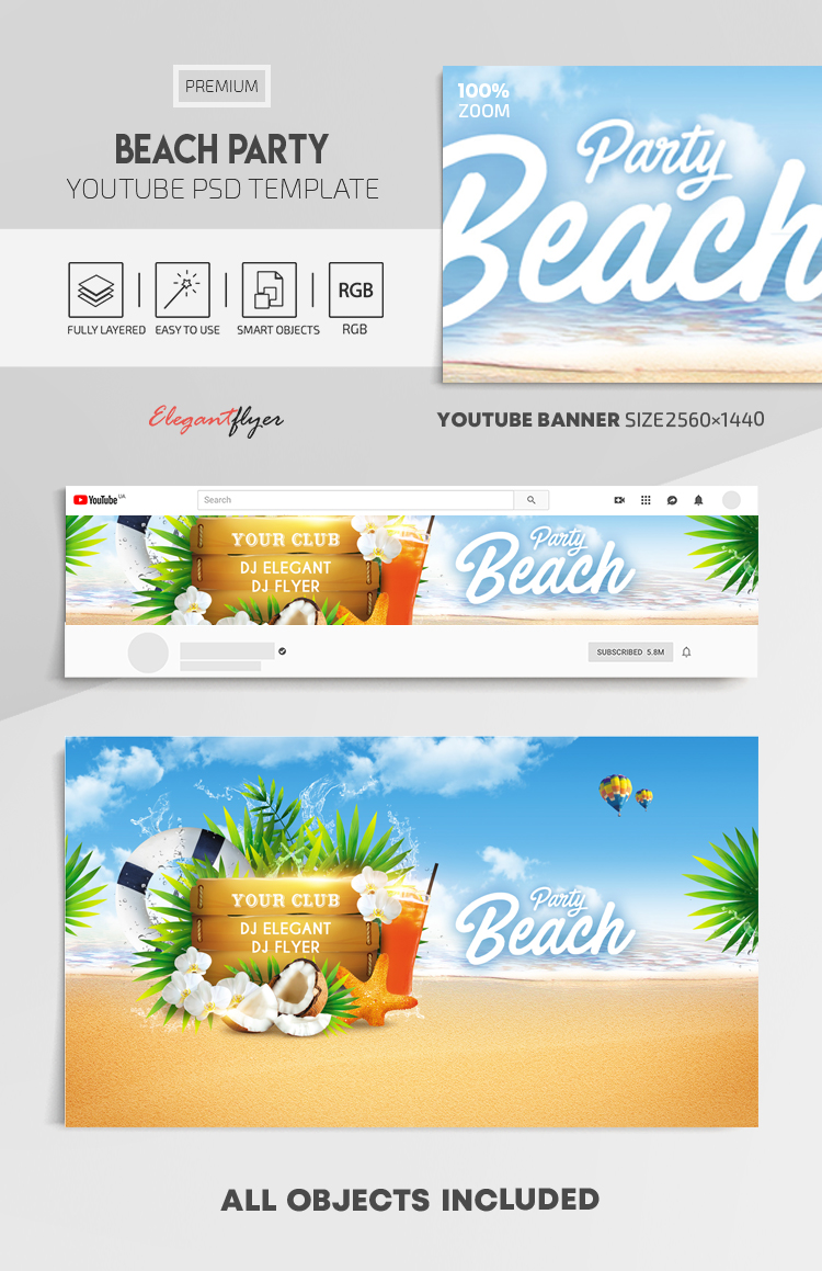 Beach Party – Youtube Channel banner PSD Template