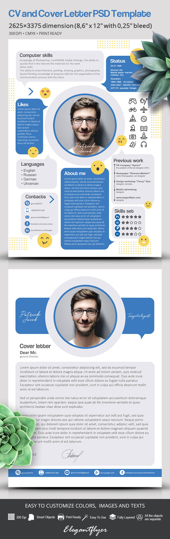 Free CV and Cover Letter PSD Template