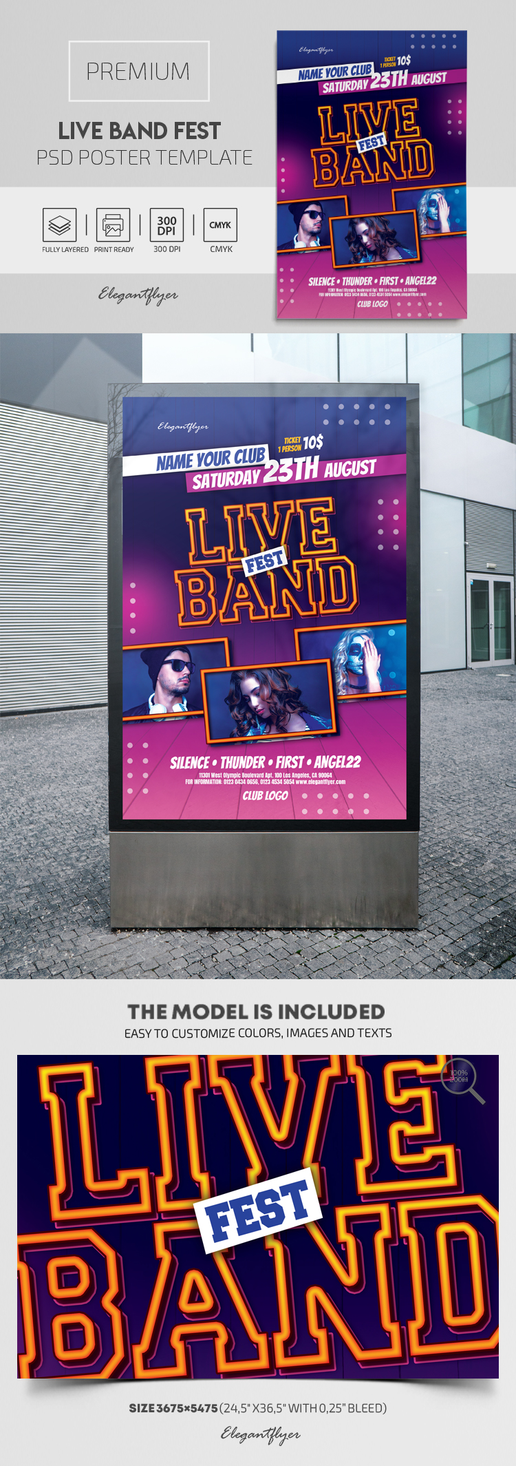 Live Band Fest – Premium PSD Poster Template