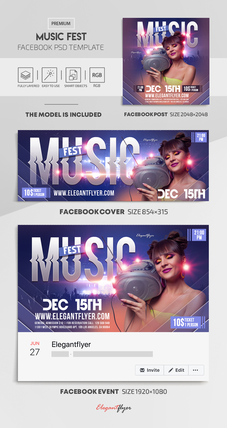 Music Fest – Facebook Cover Template in PSD + Post + Event cover