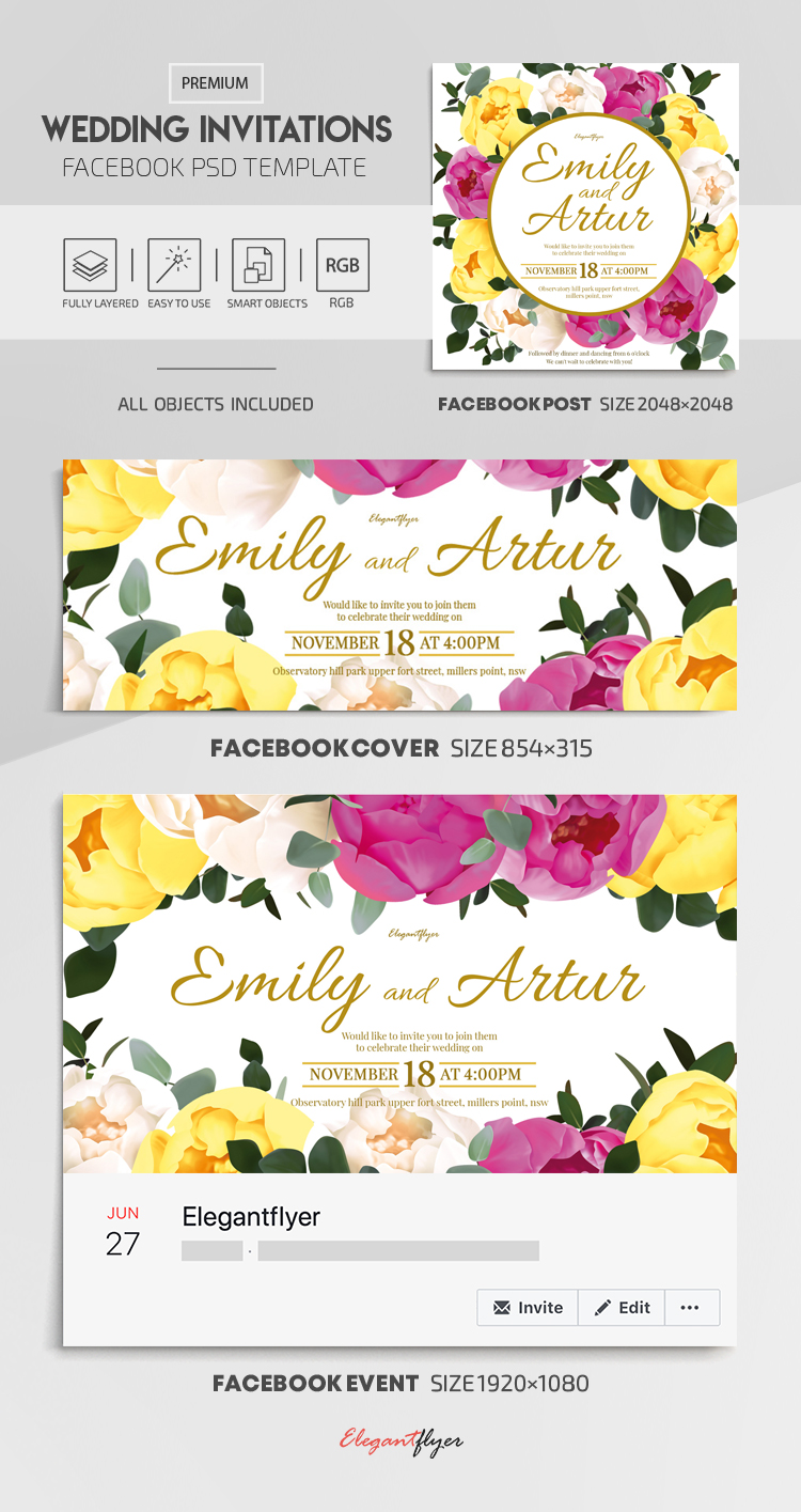 Wedding Invitations – Facebook Cover Template in PSD + Post + Event cover