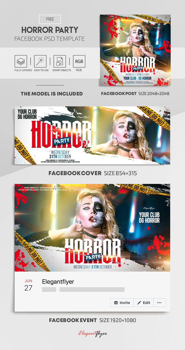 Horror Party – Free Facebook Cover Template in PSD + Post + Event cover