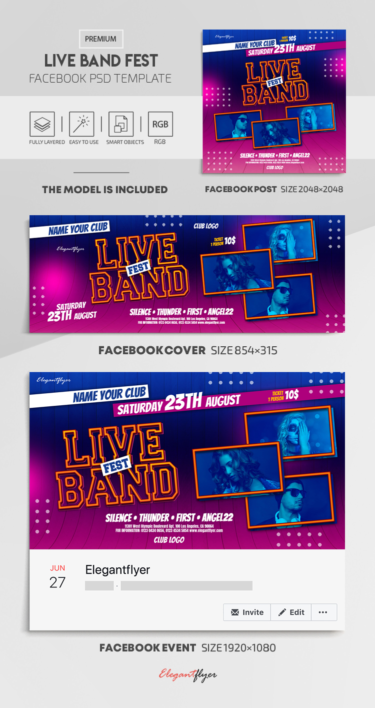 Live Band Fest – Facebook Cover Template in PSD + Post + Event cover