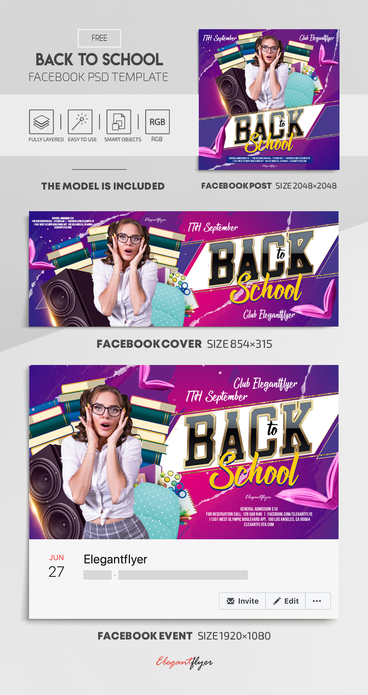 Back to School – Free Facebook Cover Template in PSD + Post + Event cover