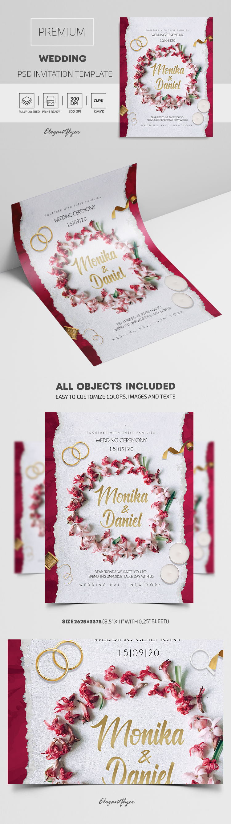 Premium Wedding Invitation Template in PSD