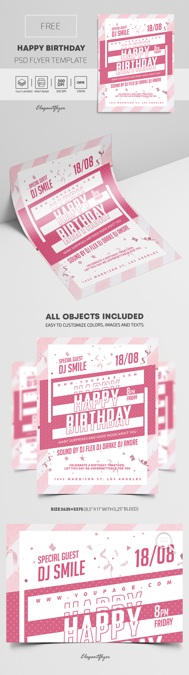 Happy Birthday – Free Flyer PSD Template