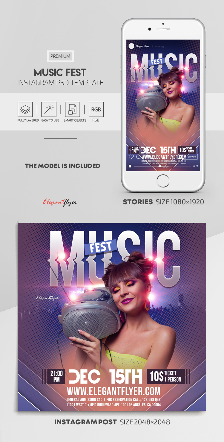 Music Fest – Instagram Stories Template in PSD + Post Templates
