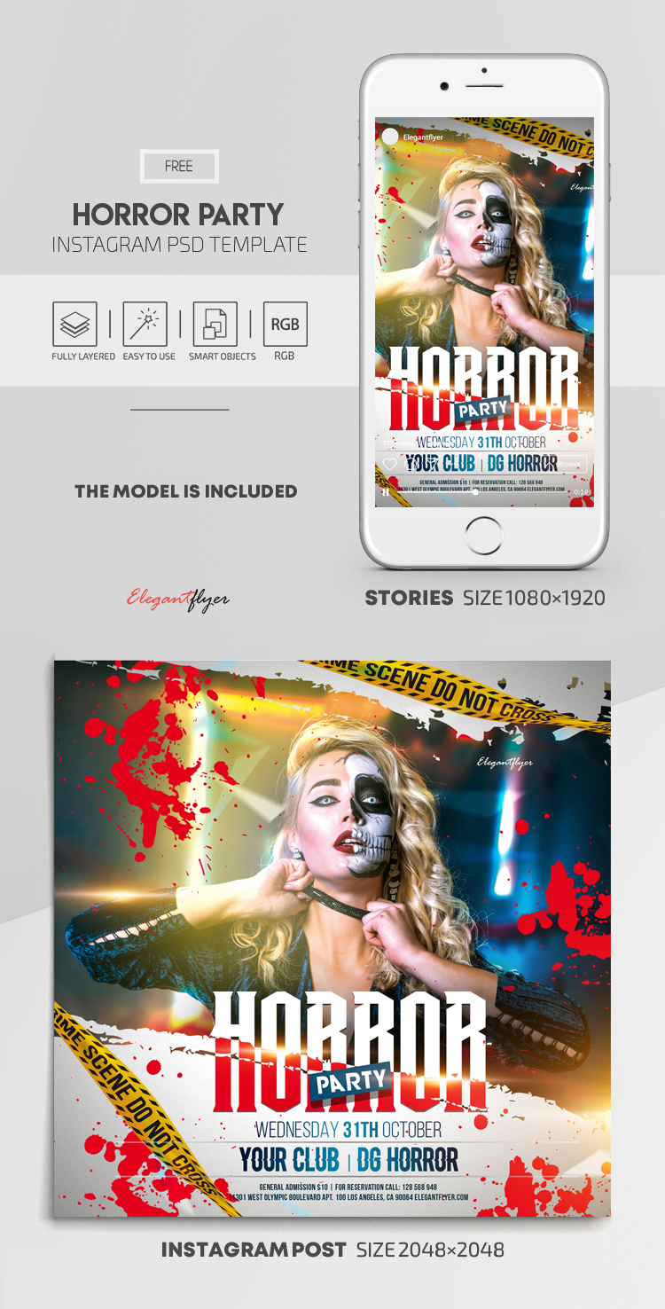 Horror Party – Free Instagram Stories Template in PSD + Post Templates
