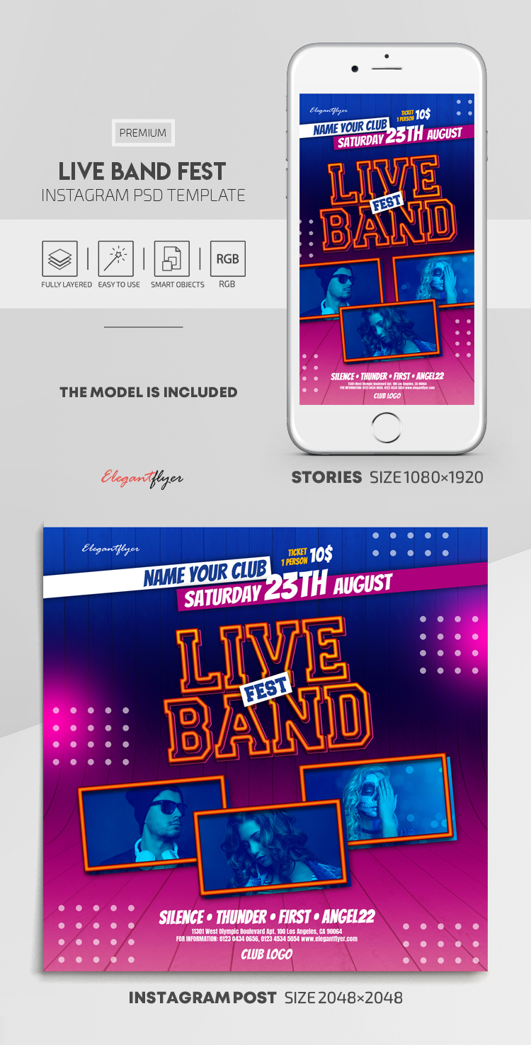 Live Band Fest – Instagram Stories Template in PSD + Post Templates