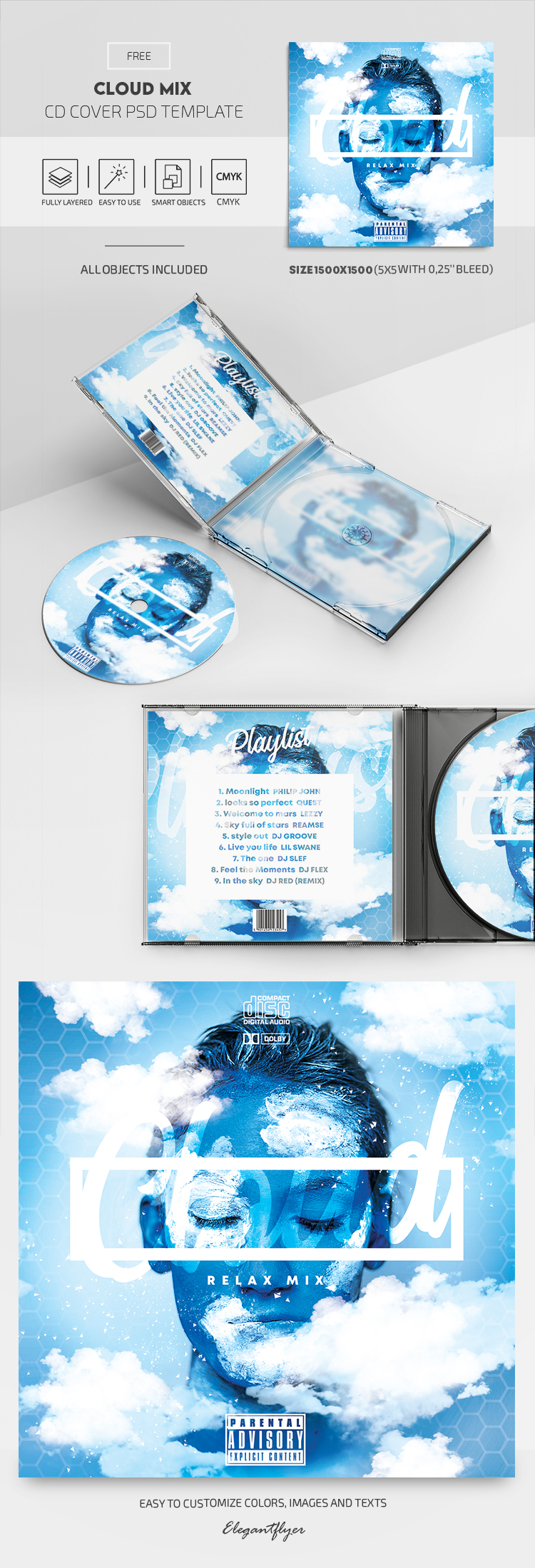 Cloud Mix – Free CD Cover PSD Template